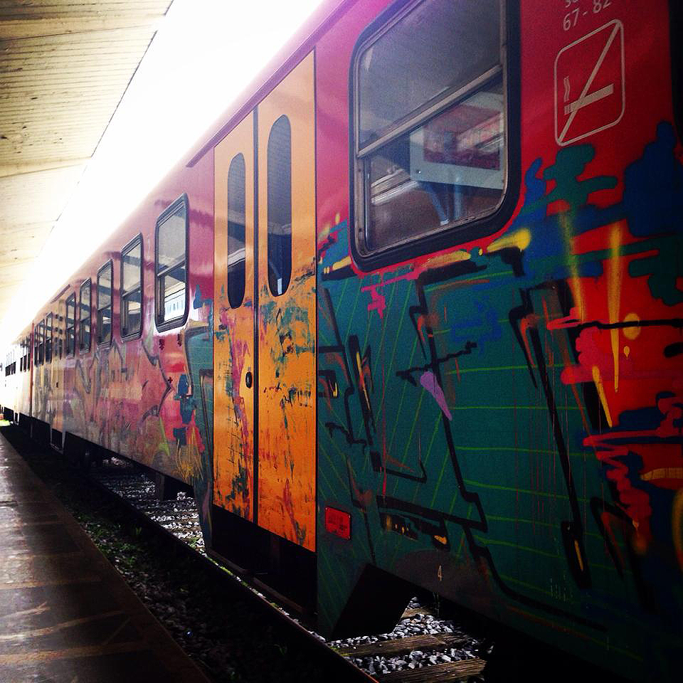 Colorful train in Ljubljana, Slovenia