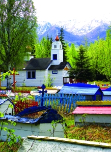 Colorful spirit houses in Eklutna, Alaska