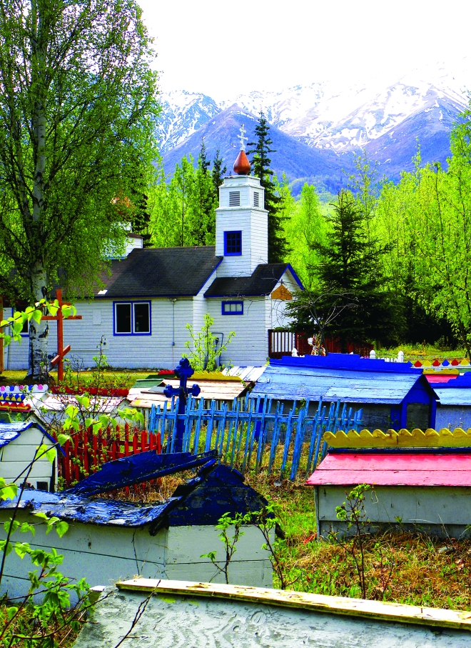 Colorful spirit houses in Eklutna, Alaska