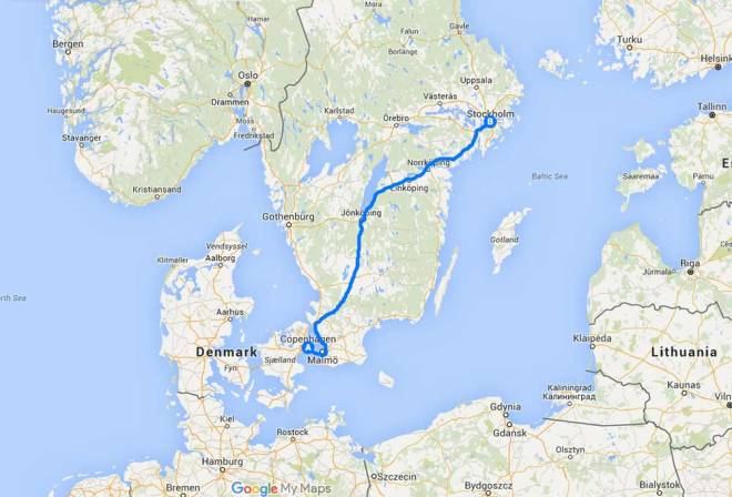 Train route from Copenhagen to Stockholm