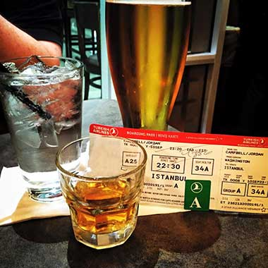 Drinks Around the World en route to Istanbul, Turkey.
