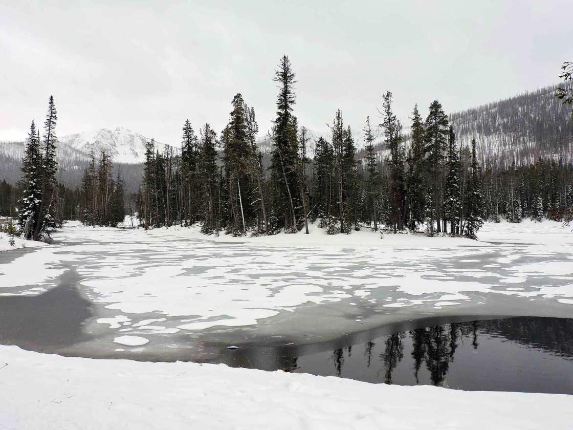 Snow on Sylvan Lake, Yellowstone National Park