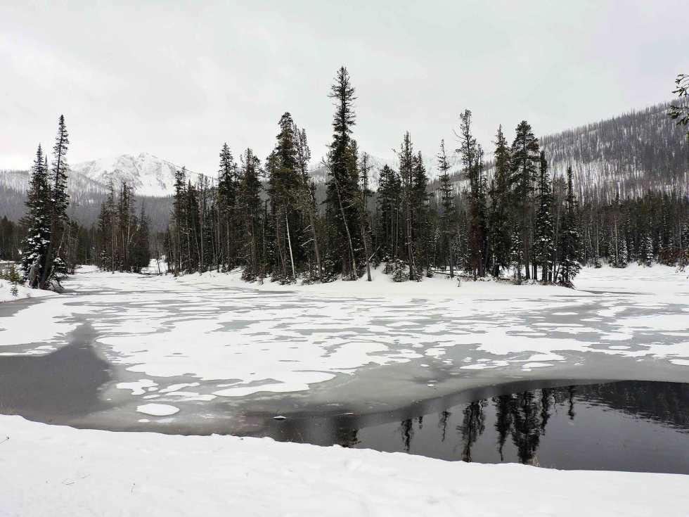 Snow on Sylvan Lake, Yellowstone National Park