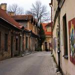 Uzupis Tourist Information Center alley in Vilnius, Lithuania