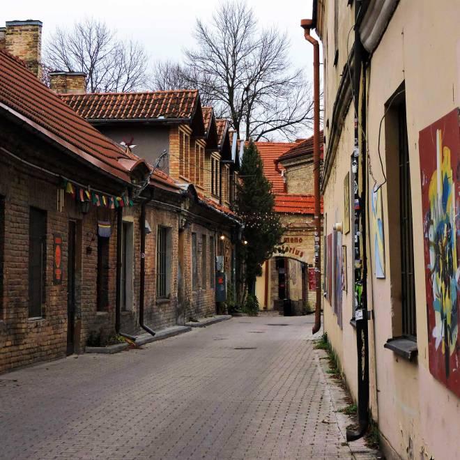 Uzupis Tourist Information Center alley in Vilnius, Lithuania